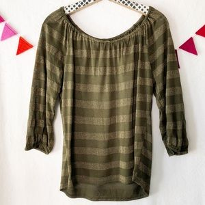 {Michael Stars} Maternity Green and Gold Top